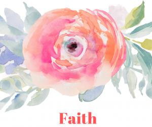 Flower with the word faith