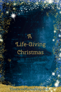 Blue with gold glitter A Life giving Christmas